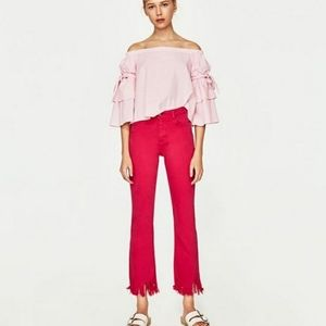Zara Distressed Cropped Flare Jeans